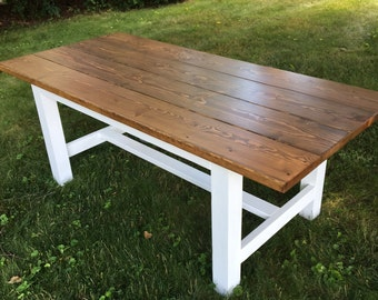 Custom Stained and White Lacquer Dining Table