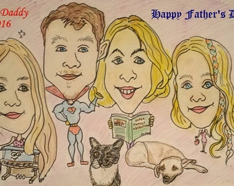 Cartoon Portait For Fathers Day Using Your Pictures