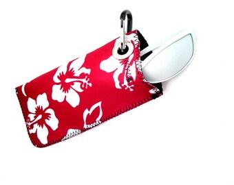 Neoprene Sunglass Case Hawaiian Hibiscus Red
