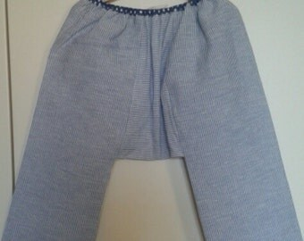 Blue and white striped cotton sarouel trousers