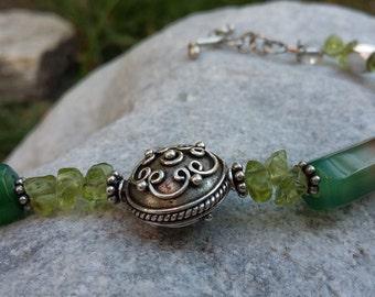 Peritod, Agate, Fresh Water Pearls, .925 Sterling Silver, Bracelet