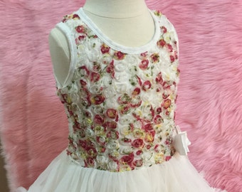 Floral Rosette Tutu Dress