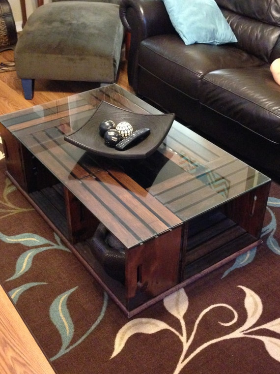 Wood crate coffee table for Wood crate coffee table