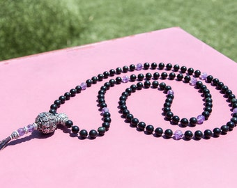 Exclusive Prayer Mala 108 Beads 10mm Rare Black with Green Hues Obsidian and Amethyst Grade A