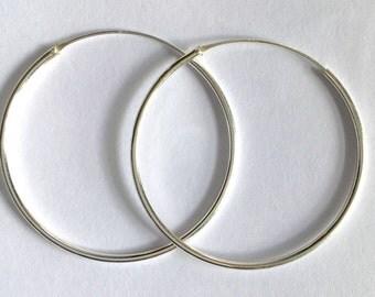 Sterling silver earrings/hoop design/handmade/solid silver