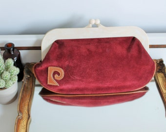 Vintage Pierre Cardin Paris Maroon Suede Leather Clasp Clutch Bag Purse