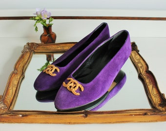 Vintage 80's Levant Purple Suede Leather Gold Trim Heel Loafers Shoes Size UK 5 EU 38 US 7