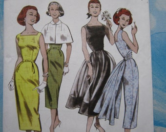 Butterick 5032 1952 Reproduction Dress, Overskirt and Capelet Sewing Pattern 14-20