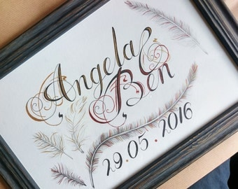 Personalised, Calligraphy Bride and Groom Names and Date of Marriage, Original Drawing with Metallic, Hand Painted Finish