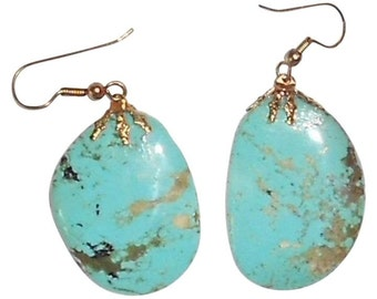 "1 1/2"" Real Turquoise Earrings.. Free Shipping In USA"