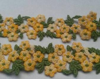 1 Yard YELLOW Lace Trim Green Leaf Applique Patch Sew On Petal Flower Trim