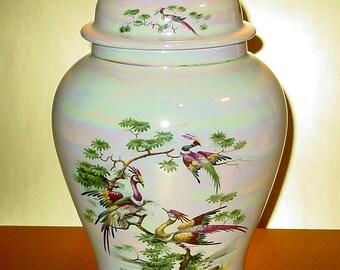 Sadler England Large Lustre Temple Jar Urn, Cranes Foliage, Water Scenes, Hand Decorated