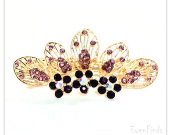 Rhinestone Hair Jewelry, Bridal Jewelry, Barrette Hair Clip, Gift for her, Hair barrette, Hair accessory, Free Shipping for additional items