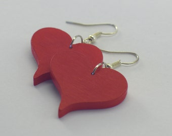 Heart Stud Earrings made of wood in different colours