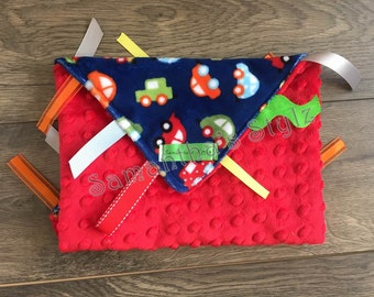 RTS, Red Cars Sensory Blanket, Ready to ship, Cars Sensory Blanket, Tag Blanket, Ribbon Blanket