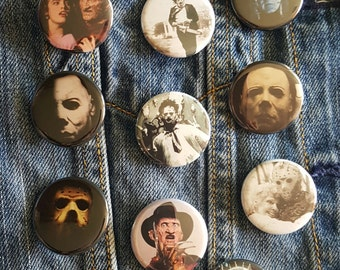 Slasher Film, Horror, Michael Myers, Jason, Freddy,Hellraiser Leatherface Buttons, Magnets, Friday the 13th, Halloween, Elm St1.25 inch