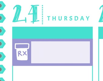 Rx or Prescription Icon Box Reminders {14 Fancy Matte or Glossy Planner Stickers, Double Rainbow Minimalist Theme} | #16-18