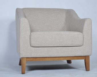 Mid Century Modern Chair Beige Color with Walnut Wood Legs Contemporary Living Room