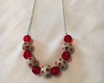 Item 201619 - Red & White Long Necklace