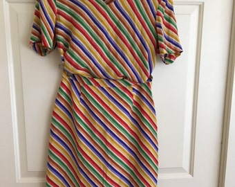 Two piece candy stripe skirt and top