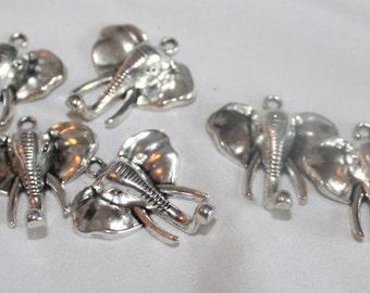 5 large Elephant Head Charms