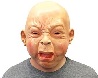 Creepy Cry Baby Full Head Face Mask Halloween Costume
