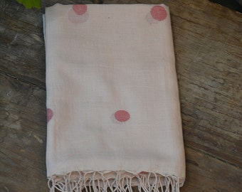 Hand-spun and hand woven champagne color khadi muslin scarf with woven big red polka dots, jamdani scarf , indian handloom cotton scarf