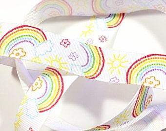 kawaii rainbow and clouds ribbon