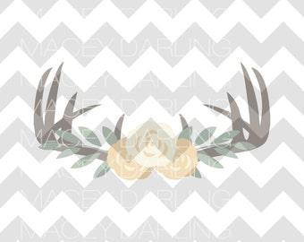 Floral Antlers SVG, Antlers SVG, Floral SVG, Flowers svg, Floral Antlers Cut File, Floral dxf, Flower cut file, flower dxf