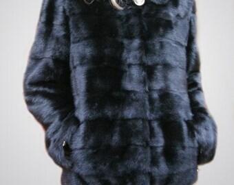 Mink coats hooded fur mink coat with Real coat with hood