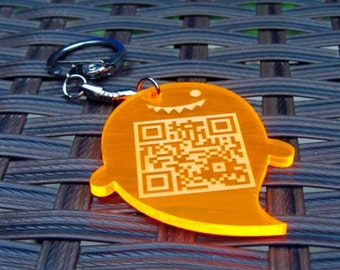 Laser Engraved Fluorescent Key chain with Your own QR code