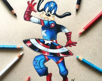 Goofy Captain America Print / Disney Gift Ideas
