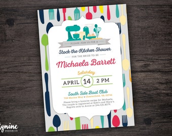 Stock The Kitchen Cooking Themed Bridal Shower Invitation