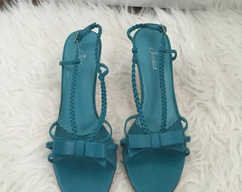 Women's Vintage 90s Jessica Teal Strappy Heeled Sandals Size 8.5