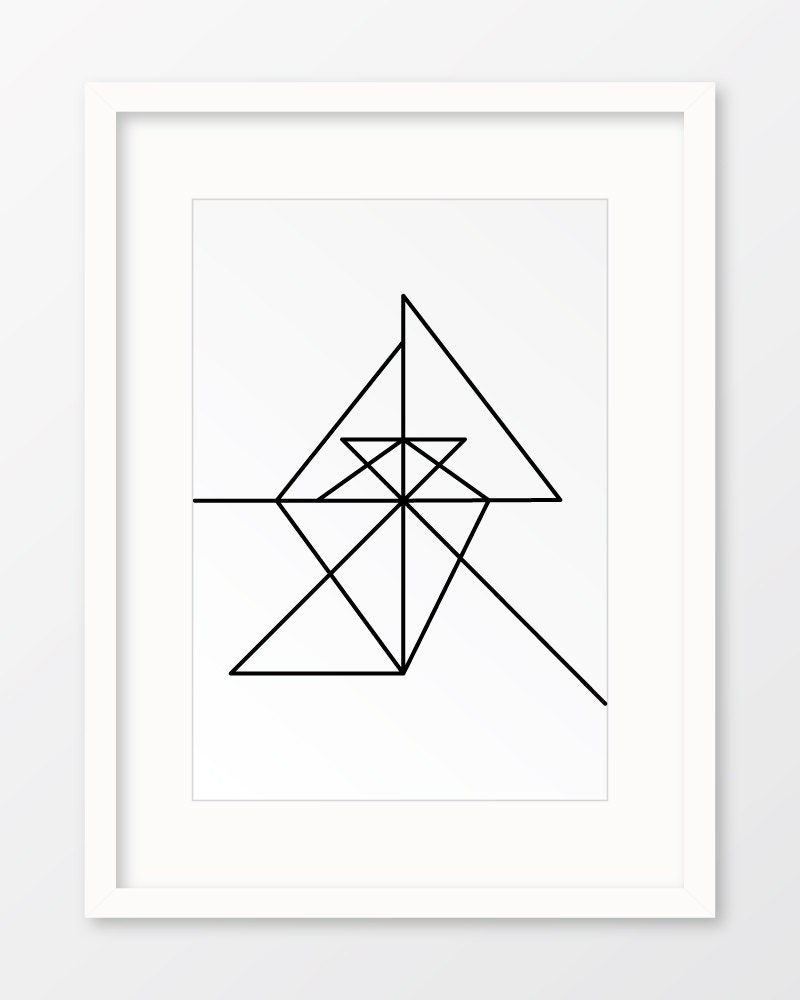 Geometric Line Drawing Artists : Continuous line art geometric print