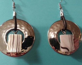 Zebra print mother of pearl and sterling silver earrings
