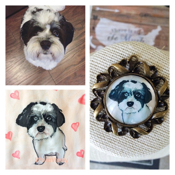 Custom Pet Portrait Necklace - watercolor handmade- pet memorial -Custom Pet jewelry - Gift dog lovers- personalized pet necklace