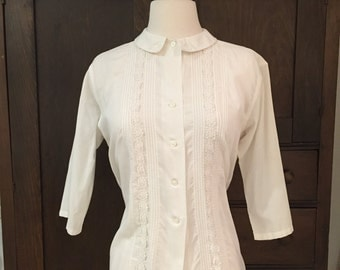 1960's White Cotton Blouse with 3/4 Length Sleeves