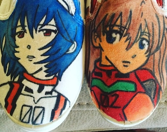 Neon genesis evangelion canvas shoes, women's size 8