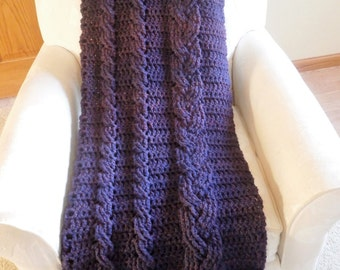 Crocheted chunky cable purple heather afghan