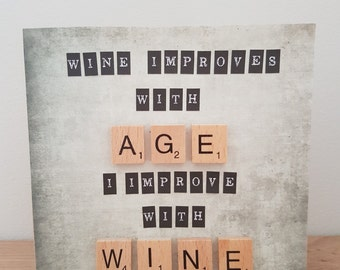 Scrabble Wine Greeting Card