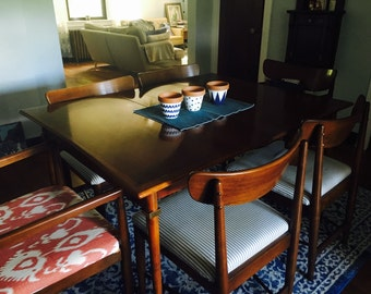 Original Midcentury Mahogany Dining Table with Brass Features