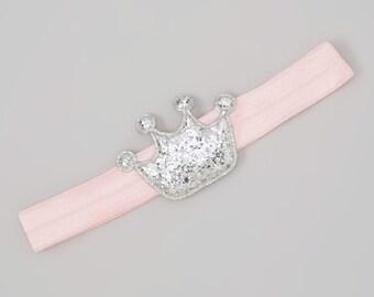 Crown Headband, Princess Headband, Pink and Silver Headband, Newborn Headband, First Birthday Headband, Pink & Silver Crown Headband
