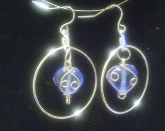 Wire wrapped glass beaded earrings