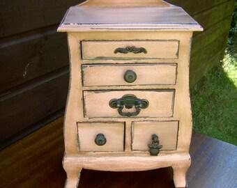 Shabby Chic Jewellery box  trinket chest of drawers  hand painted pink storage draws mini chest