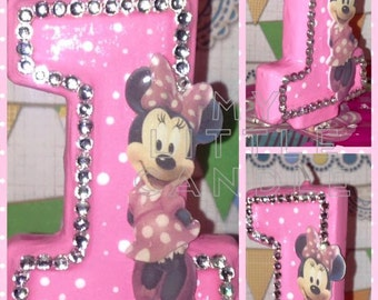 "Minnie Mouse / Mickey Mouse 3"" Custom Birthday Candle"