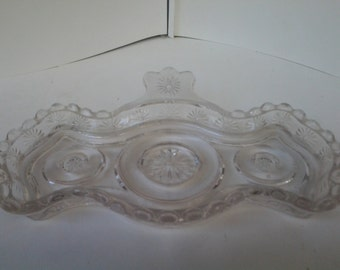 Pressed glass tray with tab handle