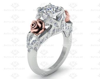 Rosa del Amor Princess cut White Diamond White Rose Gold  Engagement Ring
