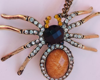 Crystal Rhinestone Spider Pendant Necklace