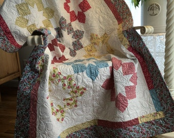 Ring Around the Wreath Baby Quilt-Baby Blanket-Baby Girl-Floral-Yellow-Blue-Raspberry-Pink-Homemade-Cotton-Traditional